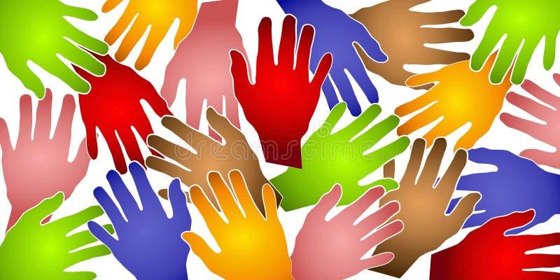 Het menselijke Kleurrijke Patroon van Handen stock illustratie