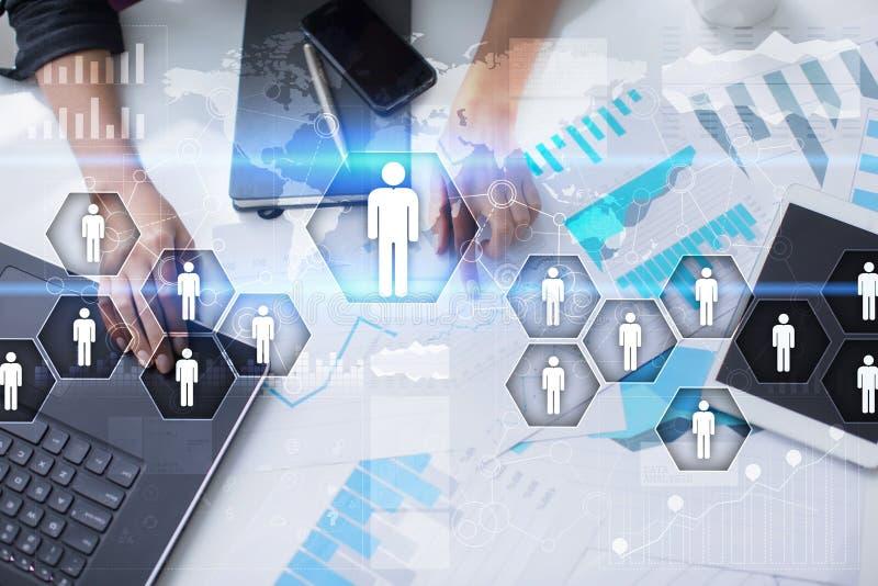 Het menselijke middelbeheer, u, rekrutering en teambuilding Bedrijfs concept stock afbeelding