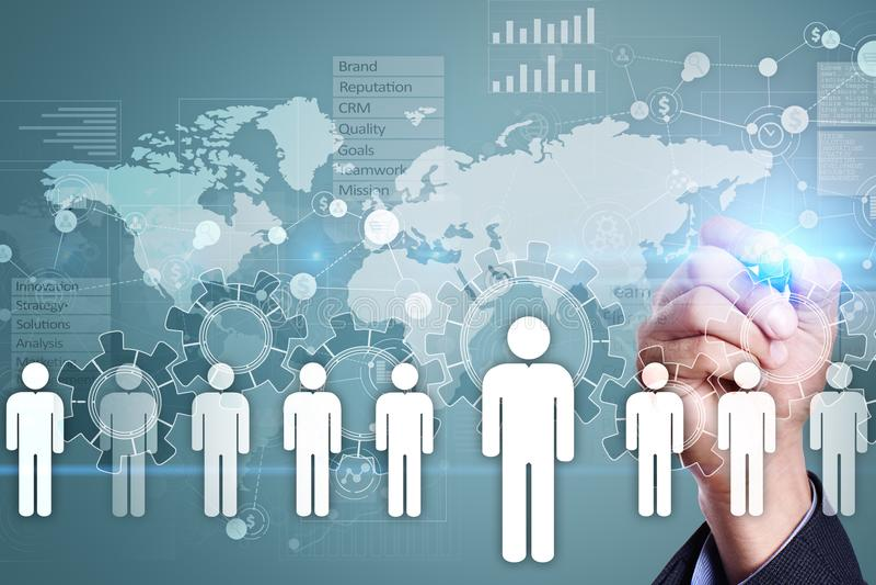 Het menselijke middelbeheer, u, rekrutering, leiding en teambuilding stock foto
