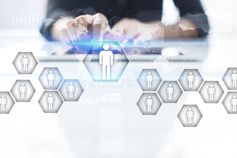 Het menselijke middelbeheer, u, rekrutering, leiding en teambuilding Bedrijfs en technologieconcept stock illustratie