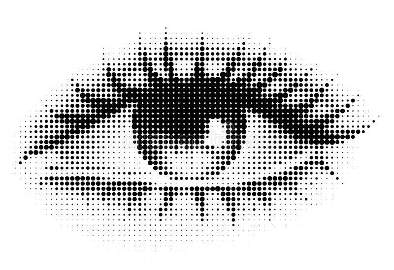 Het menselijke oog in halftone vector illustratie