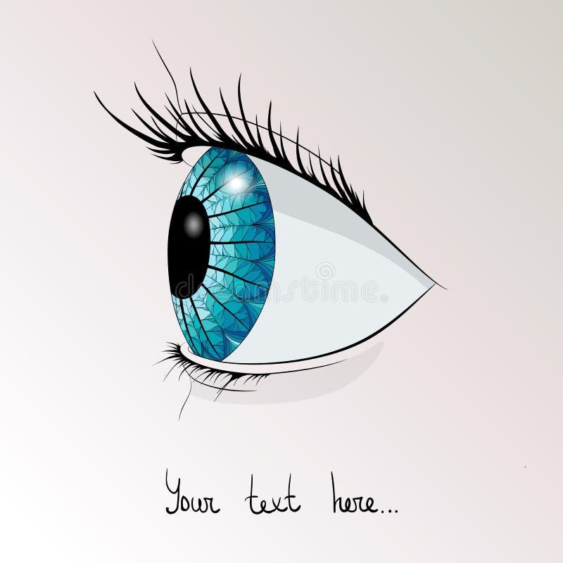 Het menselijke oog in profiel stock illustratie