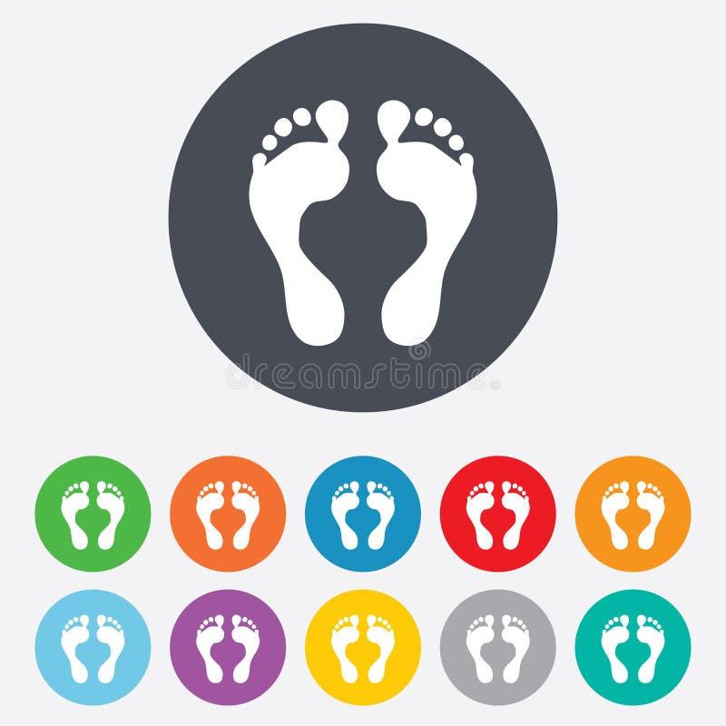 Het menselijke pictogram van het voetafdrukteken. Blootvoets symbool. stock illustratie
