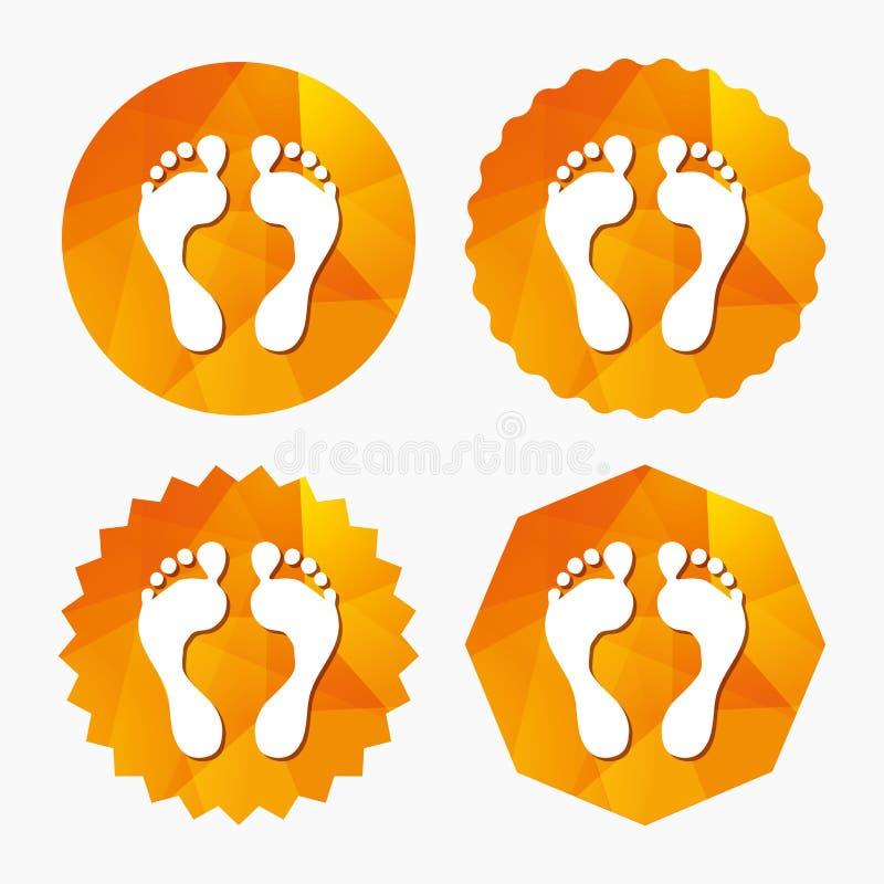 Het menselijke pictogram van het voetafdrukteken Blootvoets symbool stock illustratie