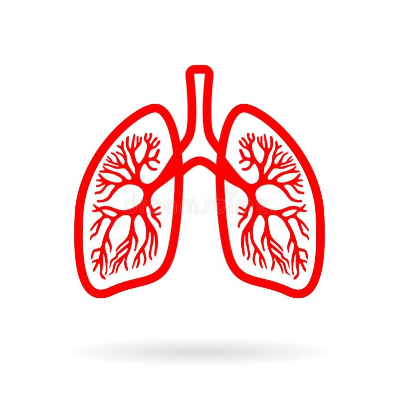 Het menselijke pictogram van het longenoverzicht vector illustratie