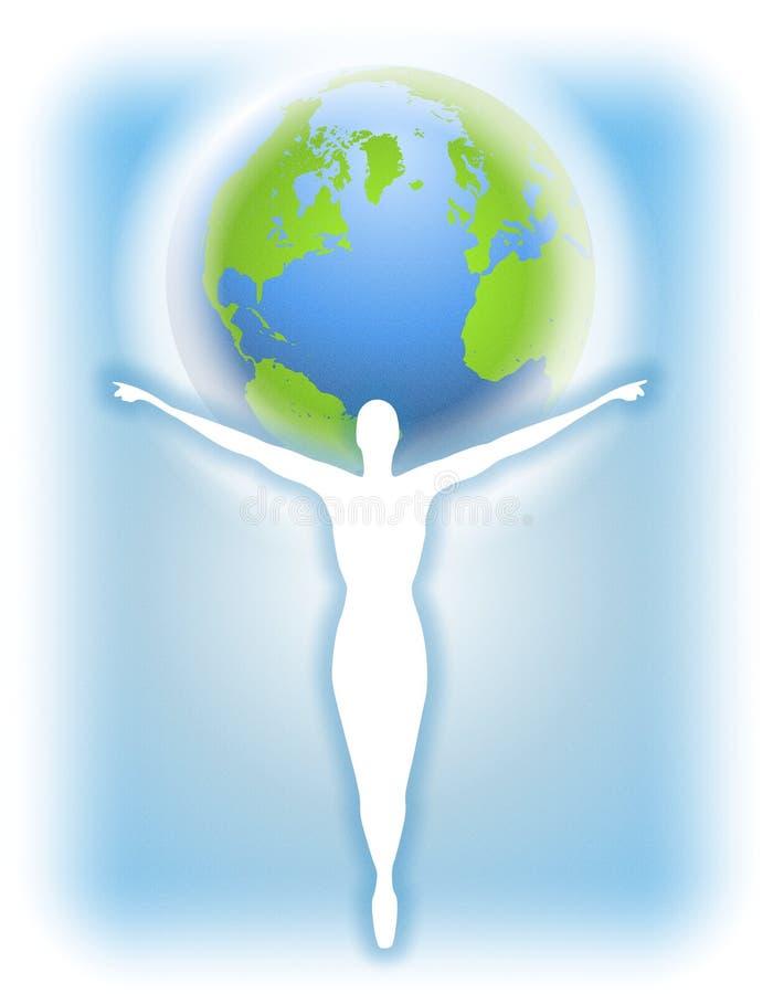 Het Menselijke Silhouet van de Aarde van de moeder vector illustratie