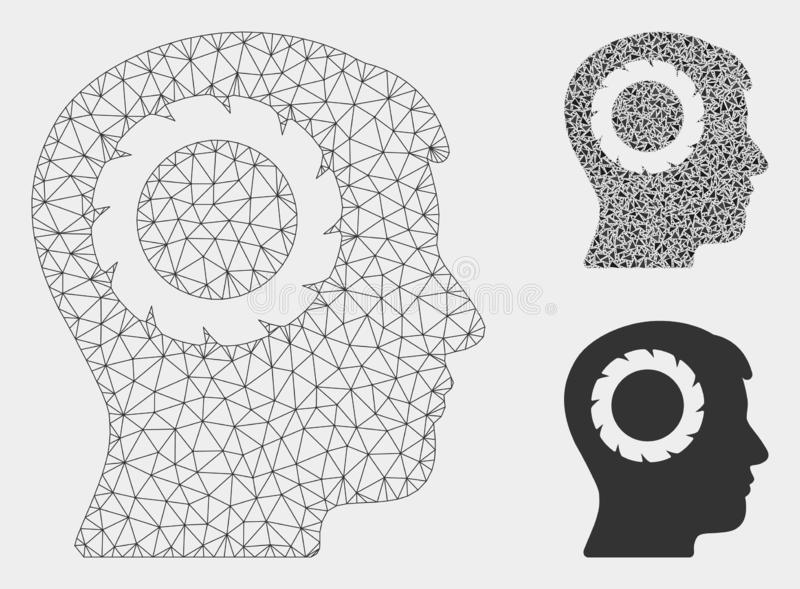 Het menselijke Vector het Netwerk 2D Model van het Geheugenwiel en Pictogram van het Driehoeksmozaïek stock illustratie