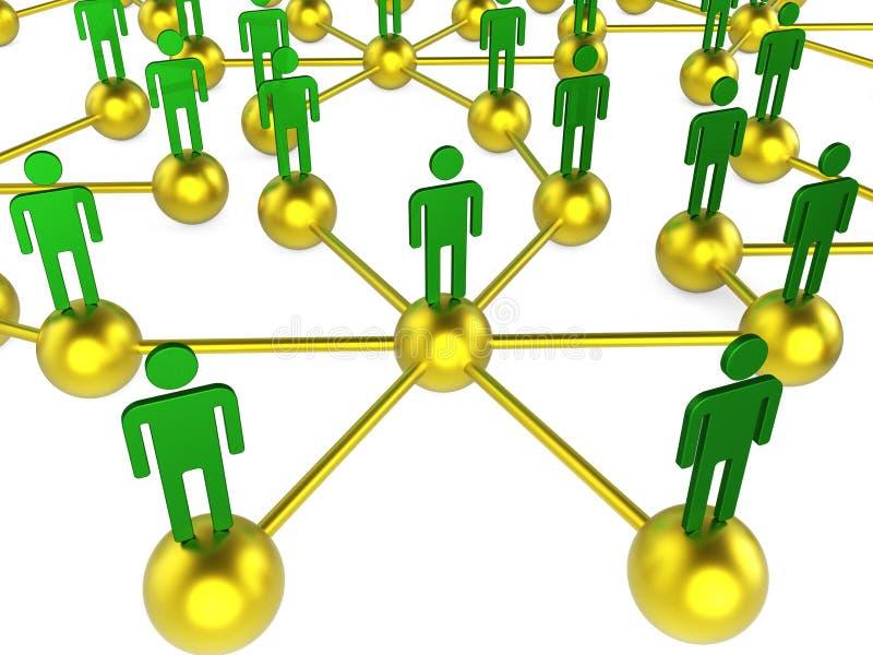 Het mensennetwerk wijst Digitaal en op Praatje die communiceren vector illustratie