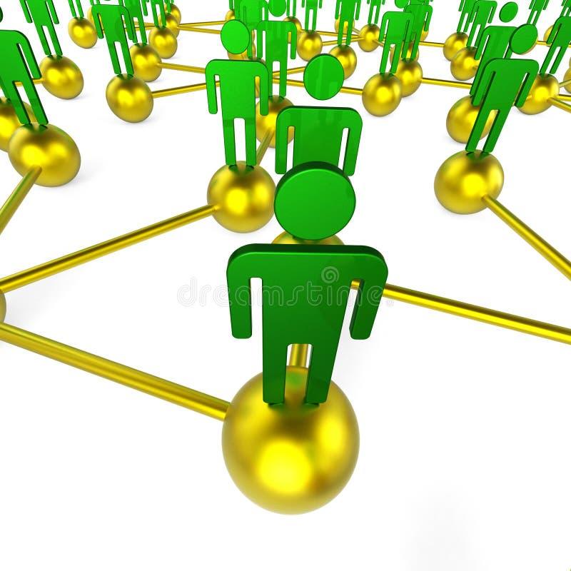 Het mensennetwerk wijst op Globaal Mededelingen en Praatje stock illustratie