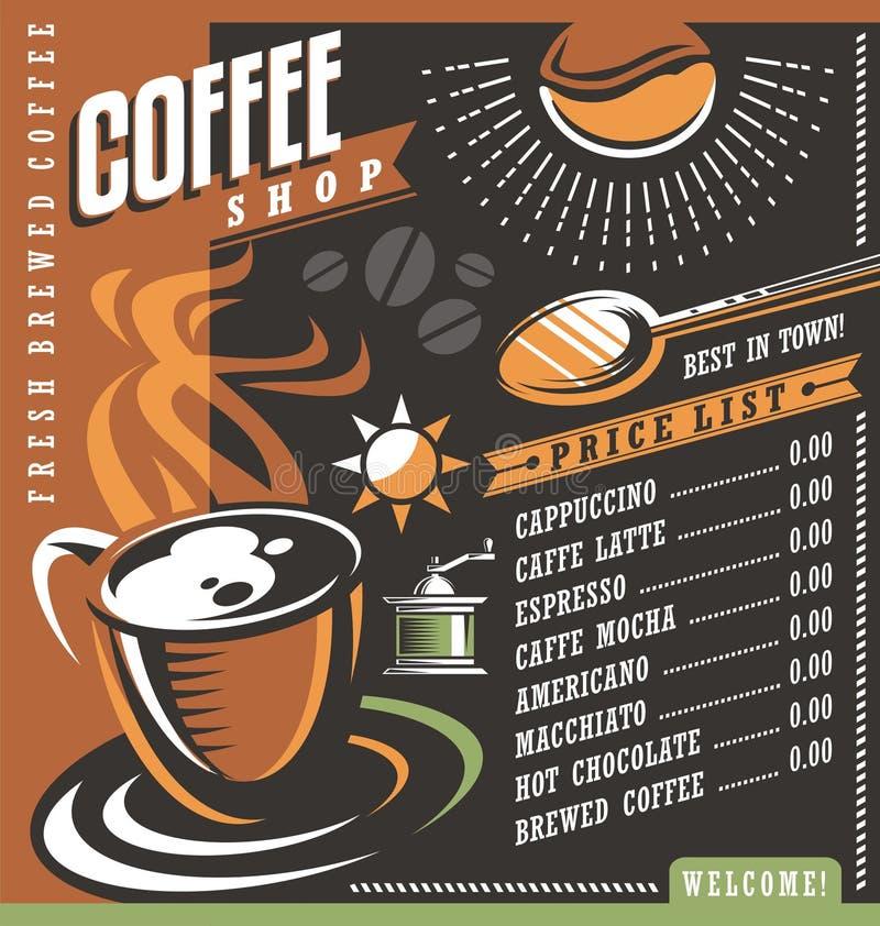 Het menu creatief malplaatje van het koffiehuis vector illustratie