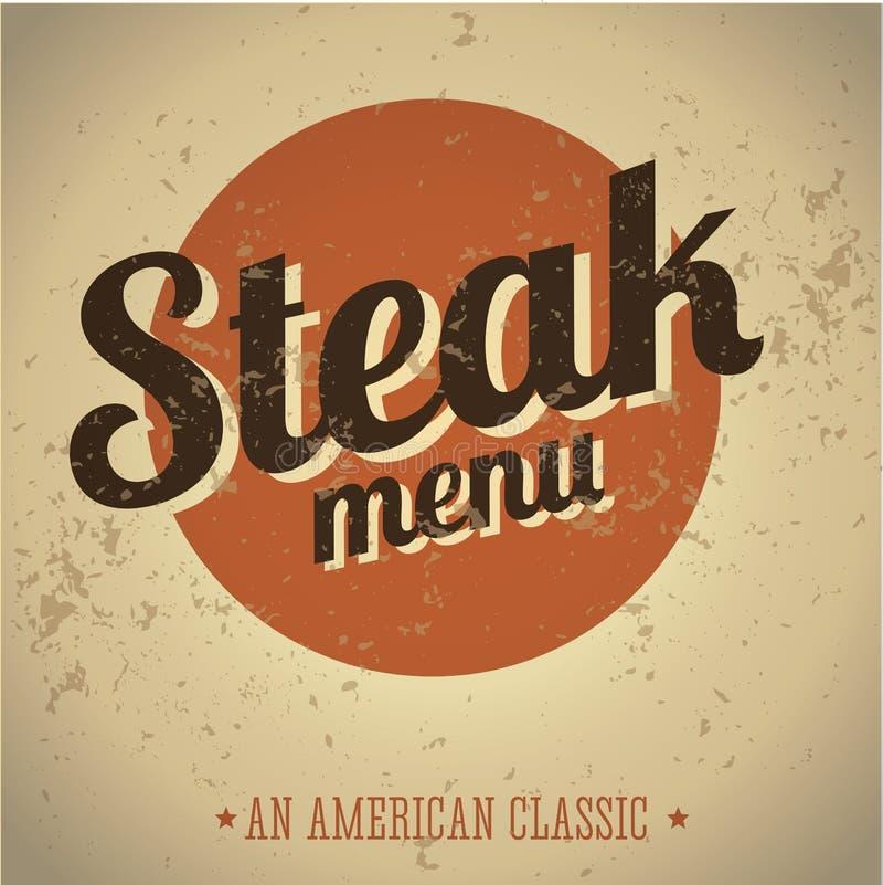 Het menu uitstekende af:drukken van het lapje vlees royalty-vrije illustratie