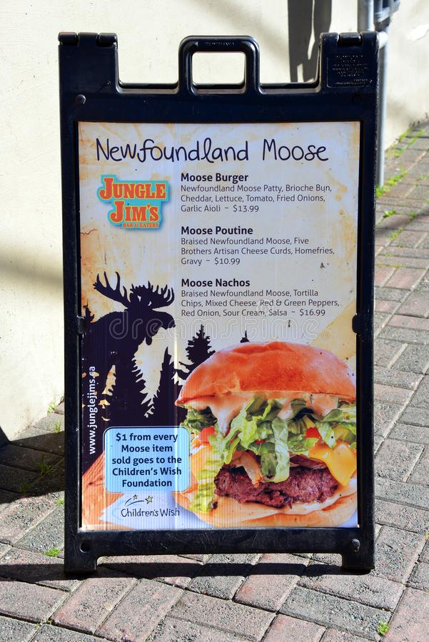 Het menu van het Amerikaanse elandenvlees in Newfoundland, Canada stock afbeeldingen