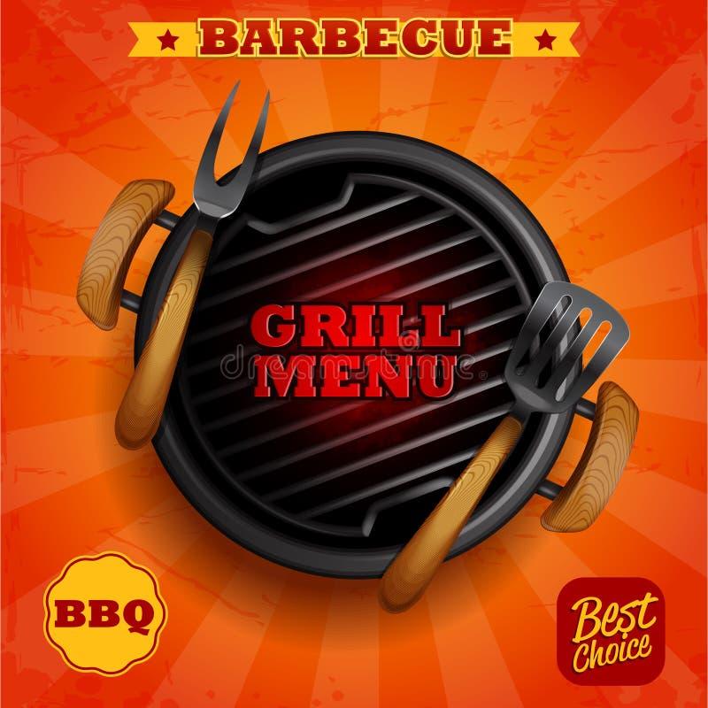 Het menu van de barbecuegrill royalty-vrije illustratie