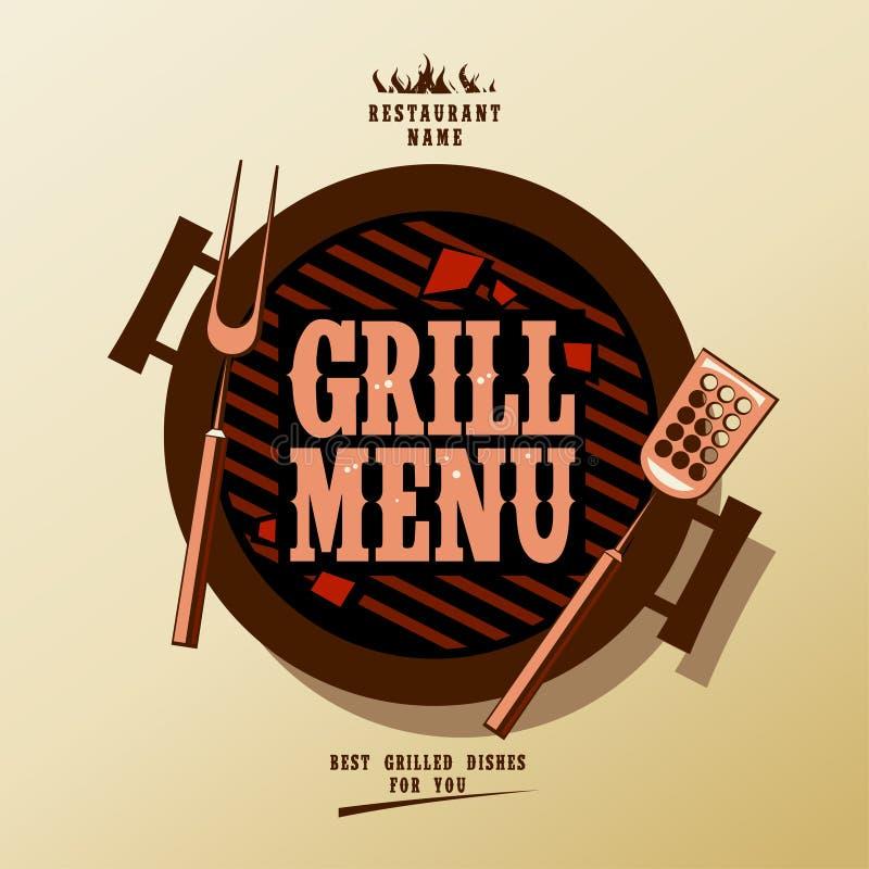 Het menu van de grill. stock afbeeldingen