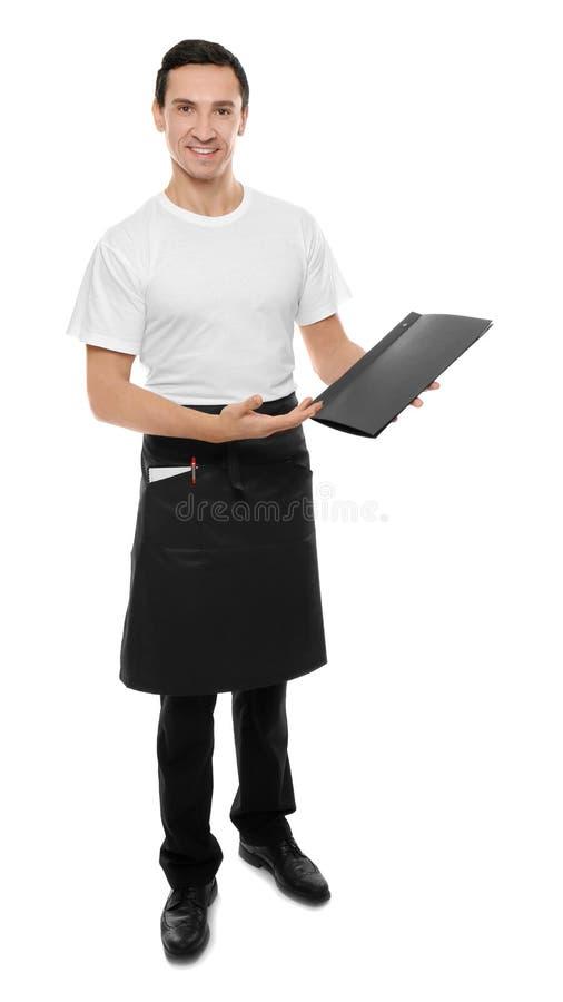Het menu van de kelnersholding royalty-vrije stock fotografie