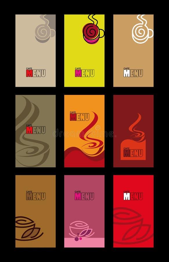 Het menu van de koffie en adreskaartjemalplaatjes royalty-vrije stock afbeelding