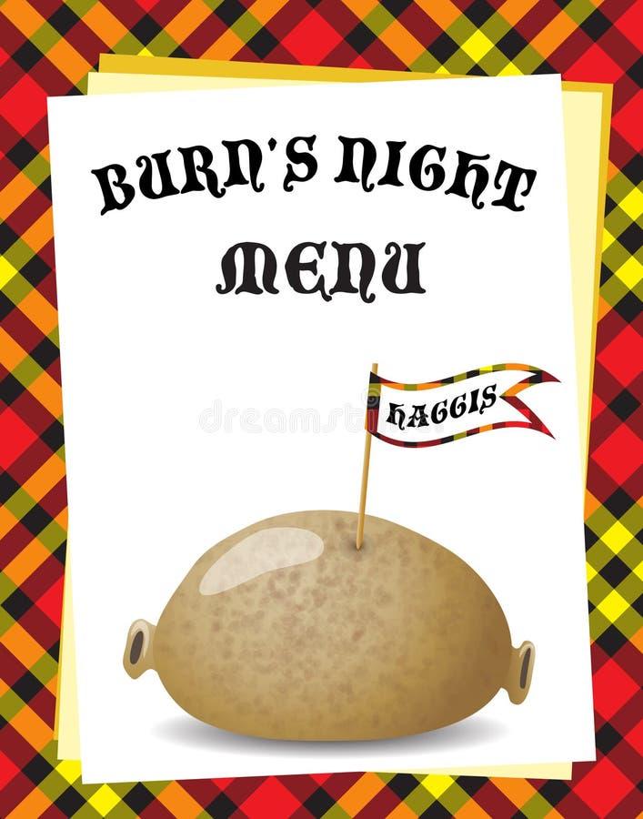 Het menu van de Nacht van de brandwond vector illustratie