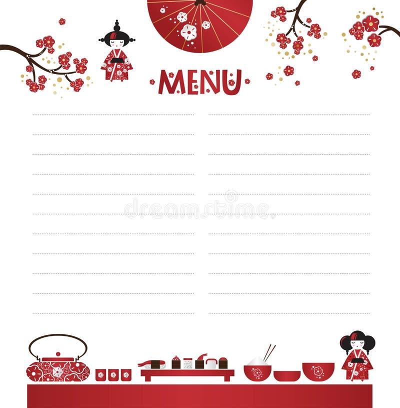 Het menu van de restaurantkoffie, malplaatjeontwerp in beeldverhaalstijl Aziatische keuken vector illustratie