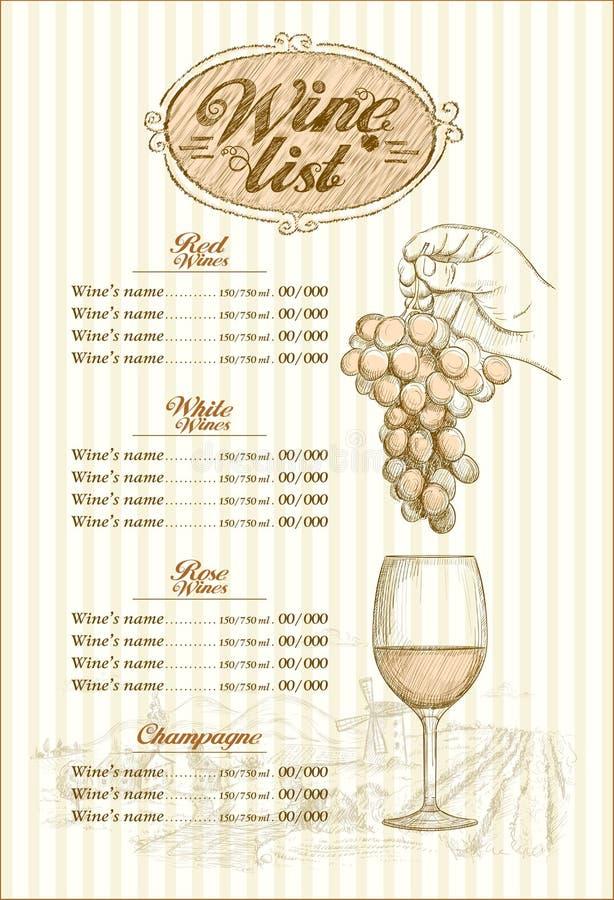 Het menu van de wijnlijst, hand getrokken grafische illustratie, bos van druif stock illustratie