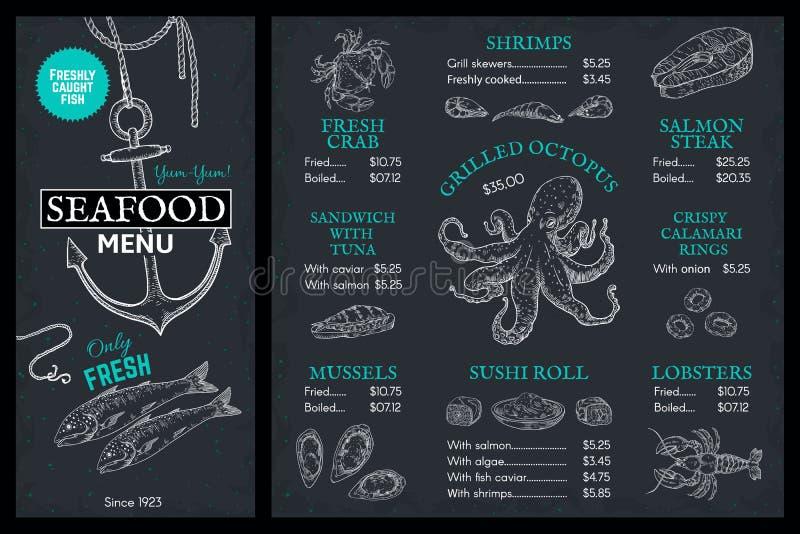 Het Menu van de zeevruchtenschets Het restaurantbrochure van krabbelvissen, uitstekende dekking met de zalm van de zeekreeftkrab  stock illustratie