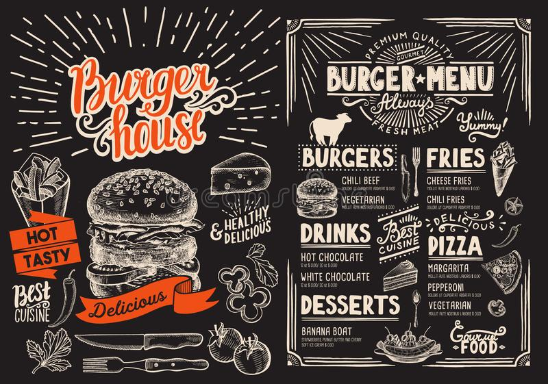 Het menu van het hamburgerrestaurant op bord Vectorvoedselvlieger voor bar stock illustratie