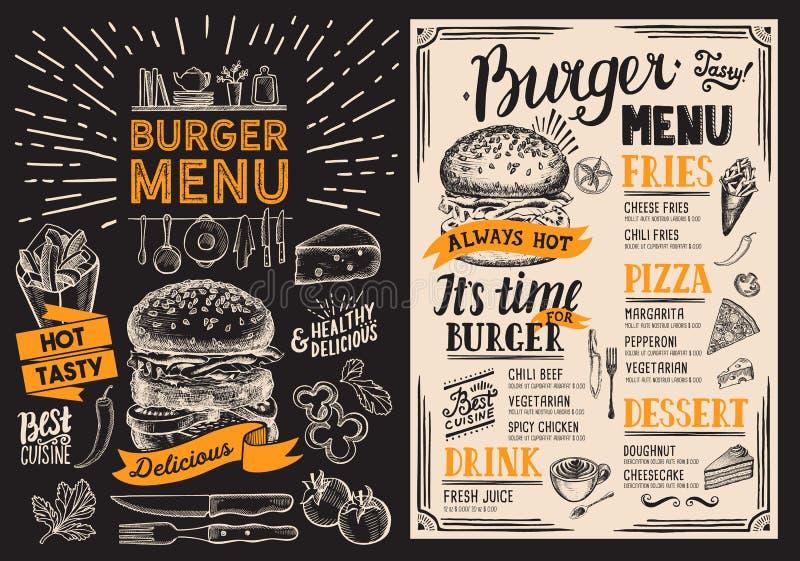 Het menu van het hamburgerrestaurant Voedselvlieger op bordachtergrond voor stock illustratie