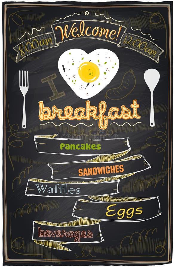Het menu van het krijtontbijt. stock illustratie