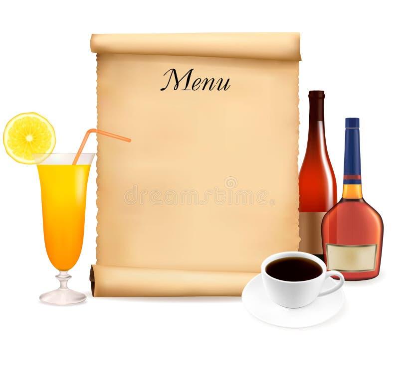 Het menu van het restaurant op de oude rol van document stock illustratie