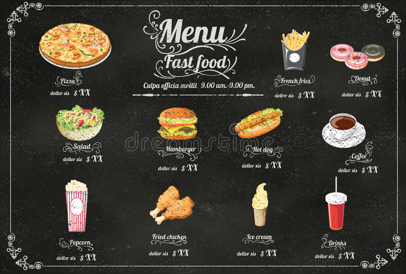 Het menu van het restaurant Snelle Voedsel op bord vectorformaat eps10 stock illustratie