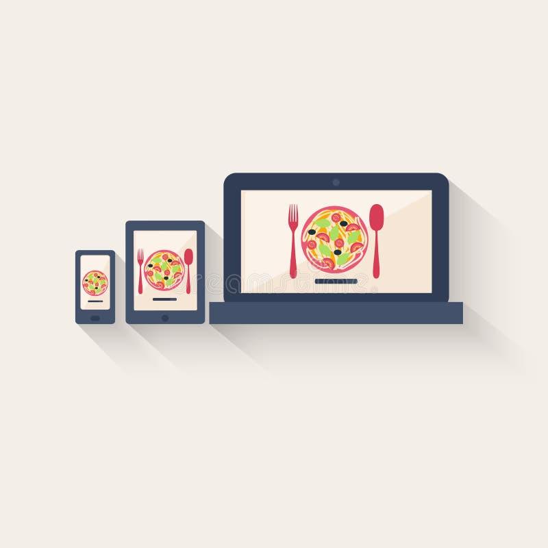 Het menu van Itaiandeegwaren online vector illustratie