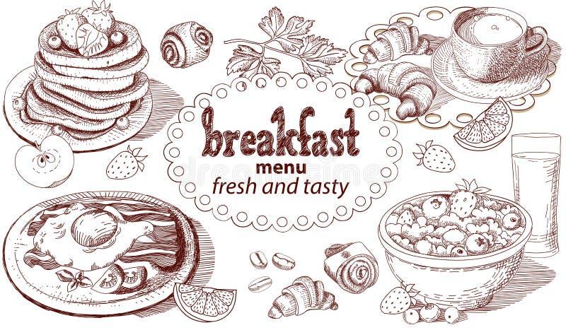 Het menu van het schetsontbijt royalty-vrije illustratie