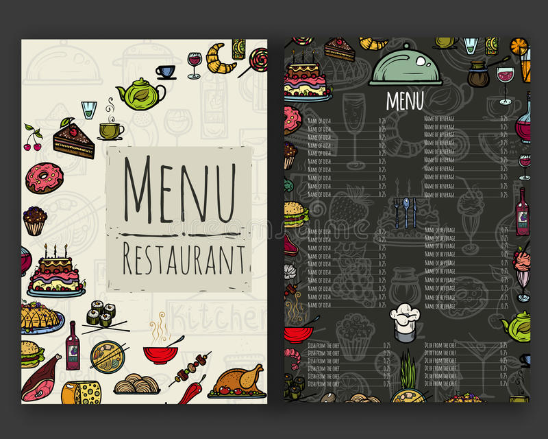 Het menu voor het restaurant stock illustratie