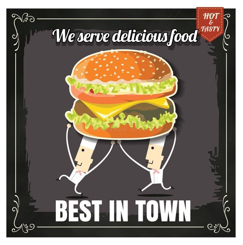Het menuhamburger van het restaurant Snelle Voedsel met belangrijkste kok op bord vector illustratie
