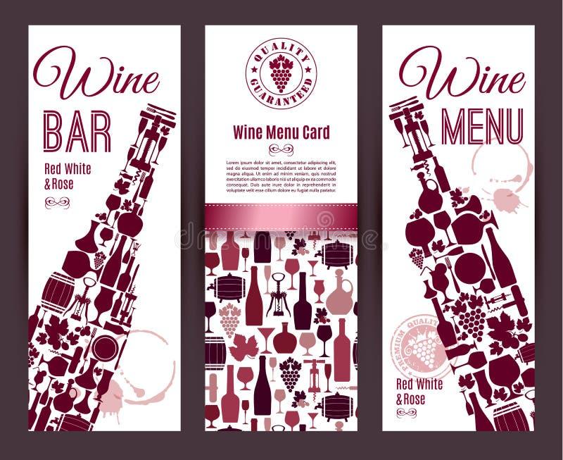 Het menukaart van de wijnbar royalty-vrije illustratie
