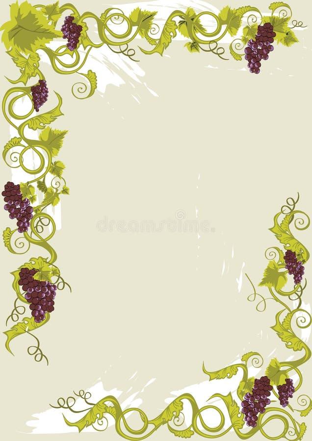 Het menukaart van druiven met wijnstokken met bladeren. vector illustratie