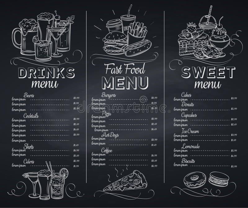 Het menukoffie van het malplaatjebord stock illustratie