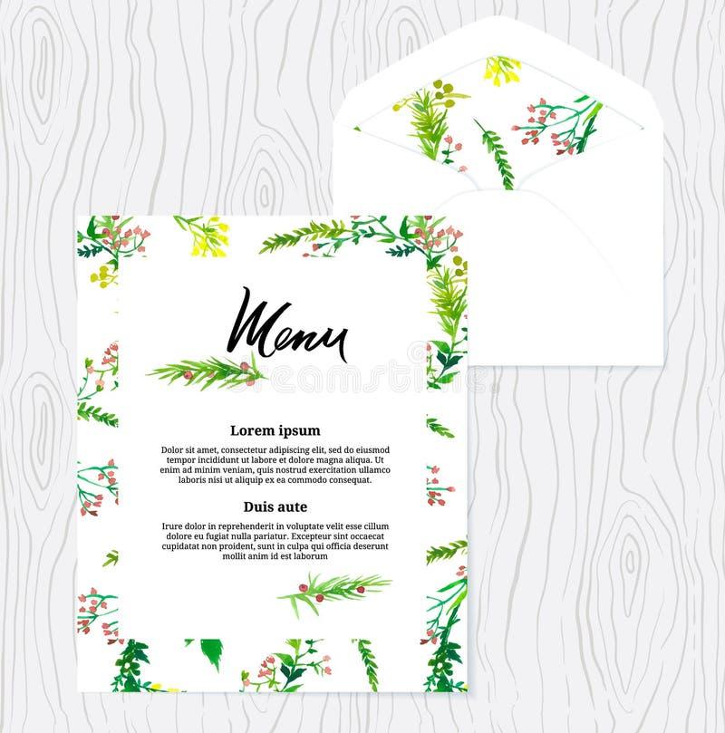 Het menumalplaatje van de huwelijkswaterverf Bloemen patroon royalty-vrije illustratie