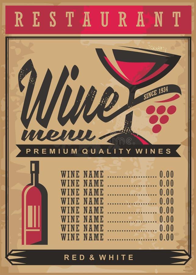 Het menumalplaatje van de wijnlijst royalty-vrije illustratie