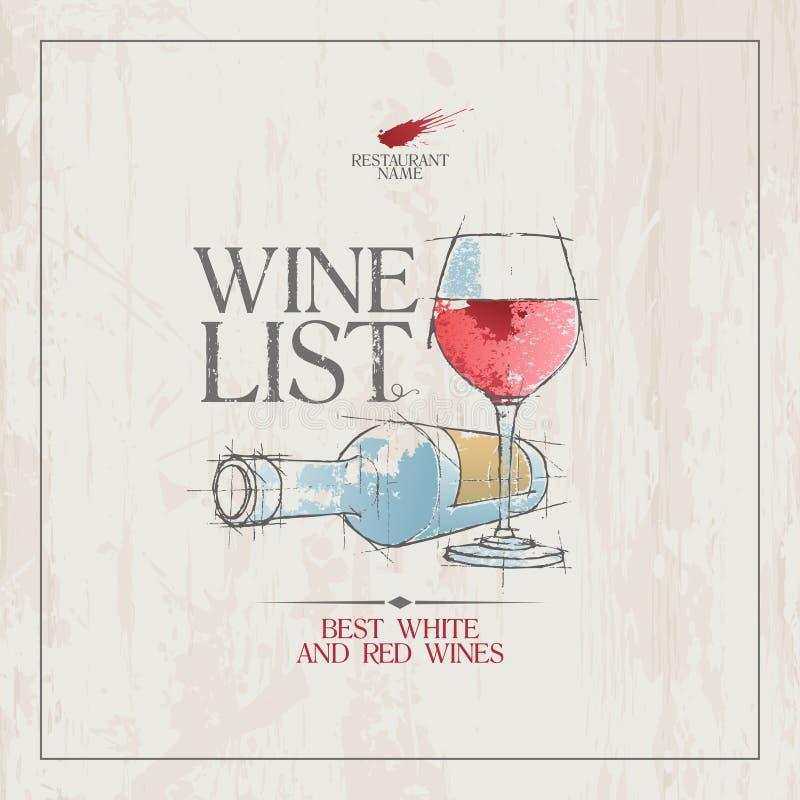 Het menumalplaatje van de wijnlijst stock illustratie