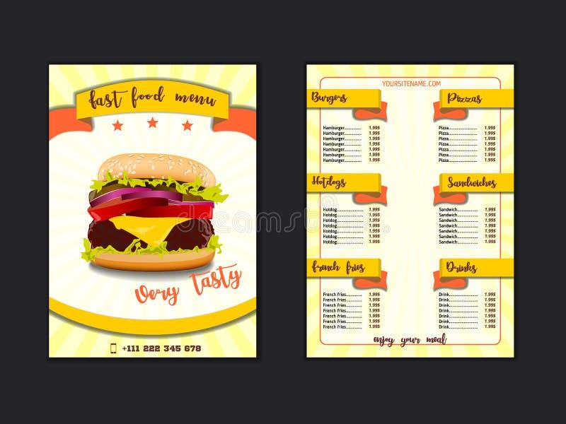Het menumalplaatje van het snel voedselrestaurant De de lunchschotels en dranken maken van met prijzen en hamburger, pizza, hotdo vector illustratie