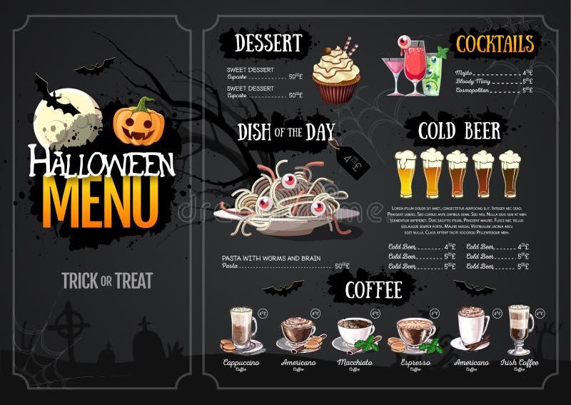 Het menuontwerp van de Halloween met hefboom of lantaarn menu Restaurant stock illustratie