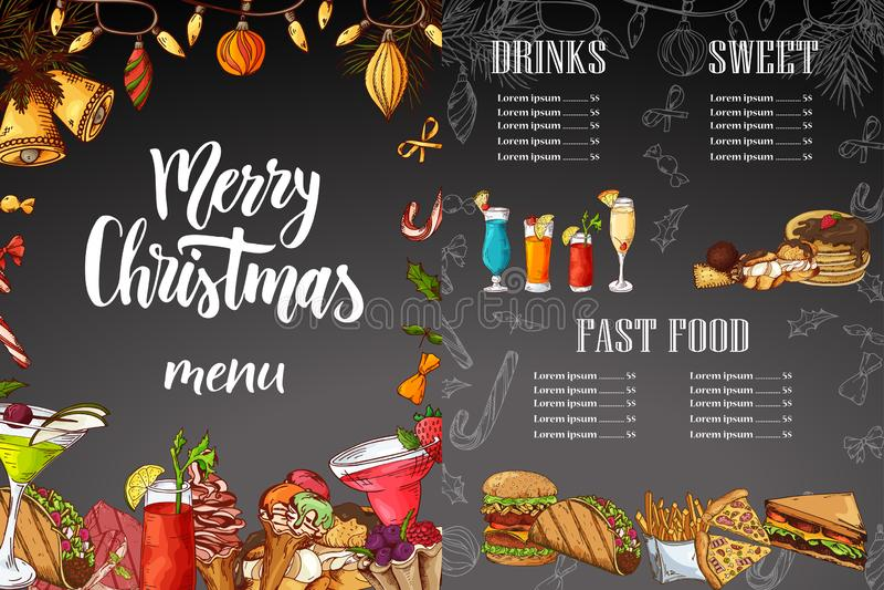Het menuontwerp van krijt drawning Kerstmis De winterontwerpsjabloon voor koffie, restaurant Voedsel, dranken en vakantieelemente royalty-vrije illustratie