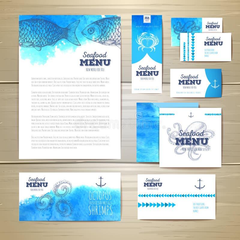 Het menuontwerp van waterverfzeevruchten Collectieve Identity stock illustratie