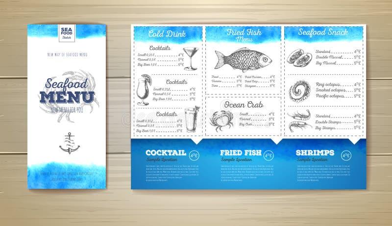 Het menuontwerp van waterverfzeevruchten Collectieve Identity royalty-vrije illustratie