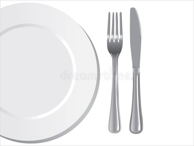 Het mes en de vork van de plaat