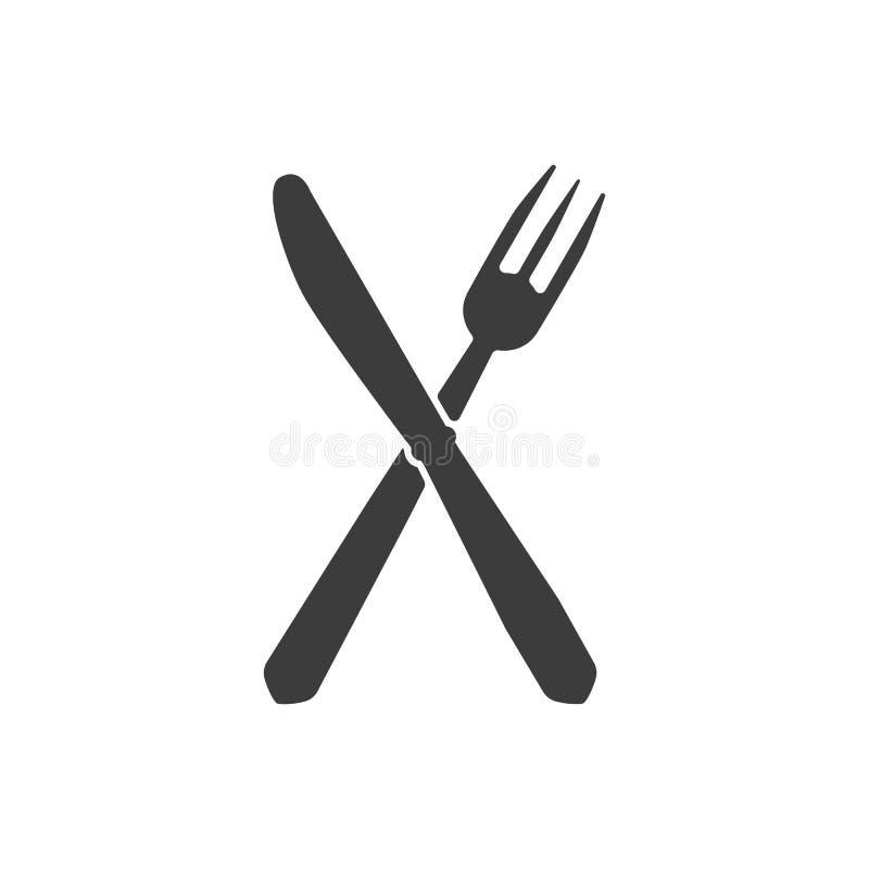 Het mes en vorkpictogram royalty-vrije illustratie