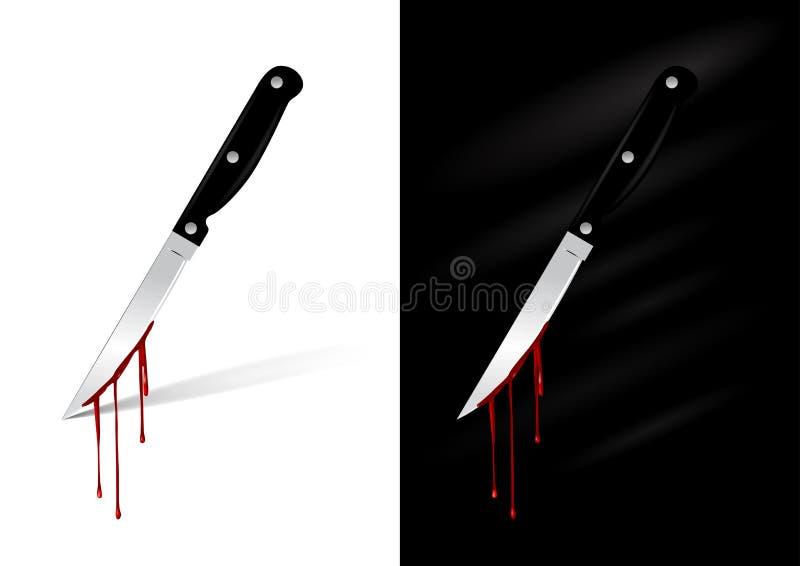 Het mes van de keuken met bloed vector illustratie