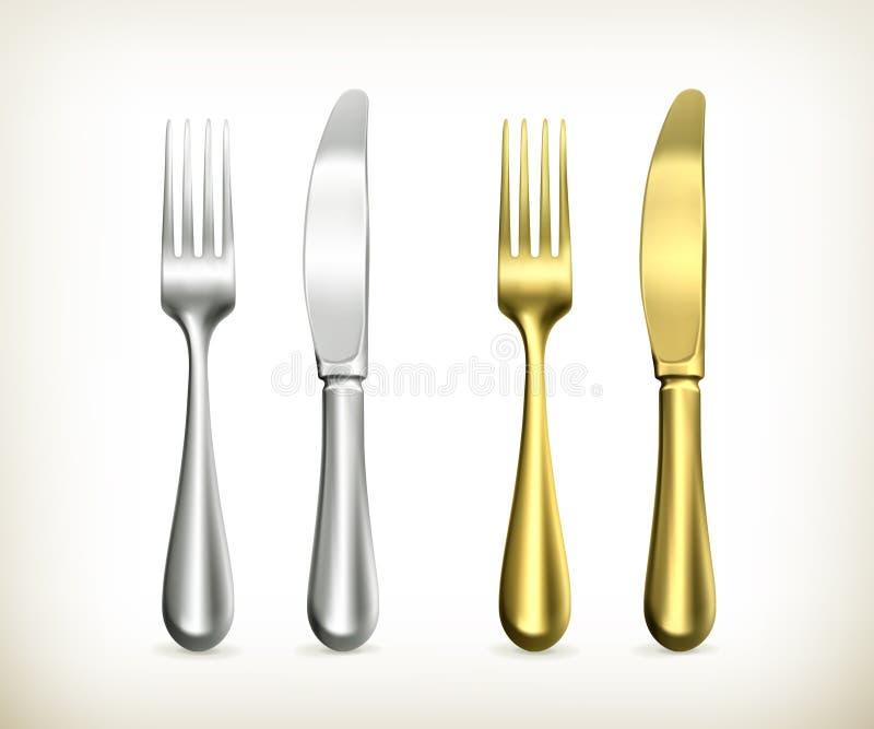 Het mes en de vork van de lijst vector illustratie