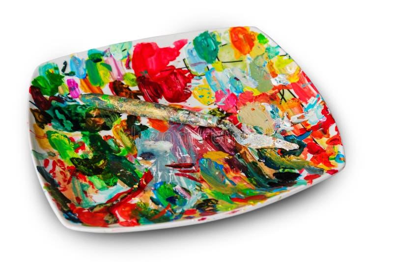 Het mes van de schilder op een palet royalty-vrije stock afbeelding