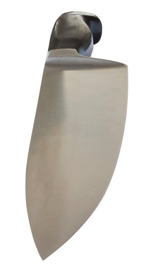 Het mes van de staalkeuken in dramatisch die perspectief wordt op witte achtergrond wordt geïsoleerd gezien die royalty-vrije stock afbeeldingen